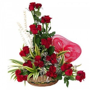 Designer Basket of Fresh Red Roses