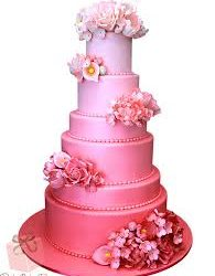 3 Tier Pink Shaded Wedding Cake