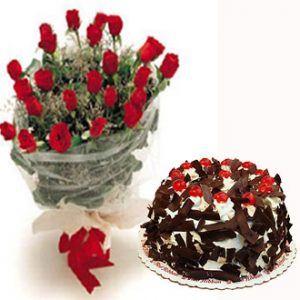 Red Flowers With Cake Combo