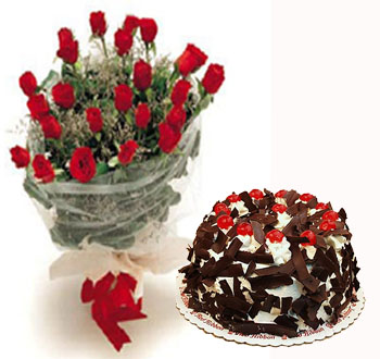 Red Flowers With Cake Combo 1